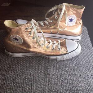 Pink metallic Converse all star high top sneakers